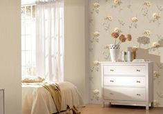 Yatak odasında desenli duvar kagidi