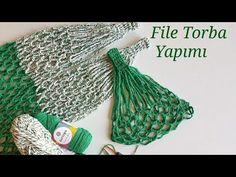 File Bag Making / Shopping Net - file çanta - Punto Red Crochet, Tunisian Crochet, Knitting Stitches, Knitting Patterns, Crochet Patterns, Crochet Animals, Crochet Hats, Crochet Market Bag, Net Bag