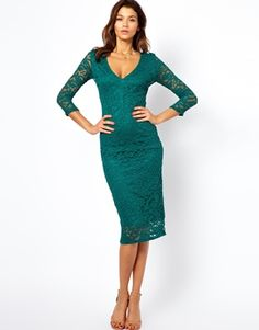 Image 1 of ASOS Midi V Neck Lace Body-Conscious Dress