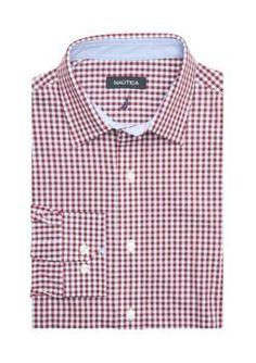 Nautica BurgundyBlack Classic Fit Dress Shirt