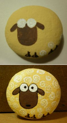 by nhely. sheep painted on stone. Rock Painting Patterns, Rock Painting Ideas Easy, Rock Painting Designs, Paint Designs, Stone Art Painting, Pebble Painting, Pebble Art, Diy Painting, Painted Rock Animals