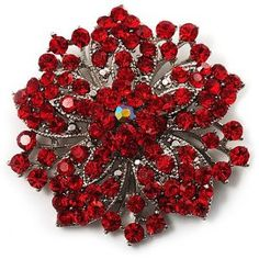 #2: Victorian Corsage Flower Brooch (Silver Red)