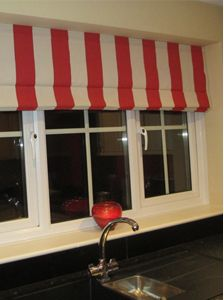 Roman blind in Juggling stripe Roman Blinds, Curtains With Blinds, Beautiful Blinds, Roller Blinds, Striped Fabrics, Bedroom, Roller Shades, Dorm Room, Bedrooms