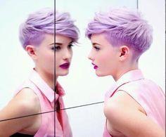 I WANT THIS HAIR. Lavender Pixie cut