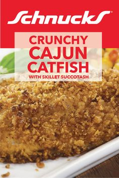 Spice up your seafood with this recipe from Schnucks. This recipe goes great with a side of succotash. Find all the ingredients you need at Schnucks. Crispy Onions, Cajun Seasoning, Meatless Monday, Catfish, Lent, Fish And Seafood, Skillet, Spice Things Up, Seafood Recipes