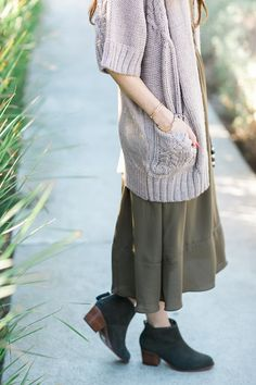 cardigan with olive midi dress by M Loves M