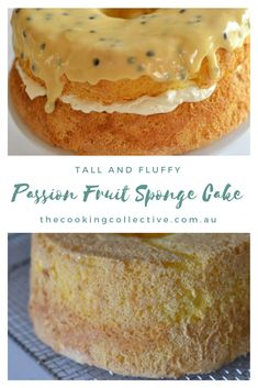 Tall and Fluffy Passion Fruit Sponge Cake Soft, airy and so delicious. This tall and fluffy passion fruit sponge cake is sure to be a crowd pleaser. Sponge Recipe, Sponge Cake Recipes, Fruit Sponge Cake, Passion Fruit Cake, Passion Fruit Flan Recipe, Savoury Cake, Yummy Cakes, Cupcake Cakes, Poke Cakes