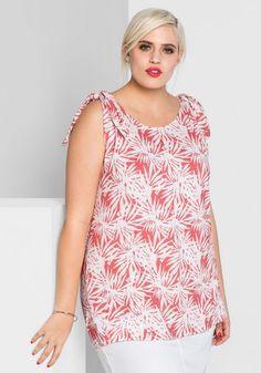 sheego Style Trägertop für 24,99€. Mit floralem Alloverprint oder unifarben, Knotenoptik auf den Schultern, Figurfreundlicher Rundhalsausschnitt bei OTTO