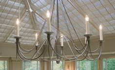 Ruben chandelier - eight lights - conservatory furniture from interiors by vale Conservatory Lighting, Conservatory Furniture, Wrought Iron Chandeliers, Large Chandeliers, Modern Couch, Wall Lights, Ceiling Lights, Furniture Placement, Rustic Kitchen