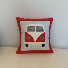 VW Bus Inspired Red and Grey Hippie Accent by MKissaCreations