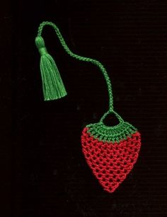 Handmade Crocheted Bookmark Strawberry fruit