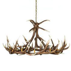 Elk antler chandelier 12 light lampadari pinterest elk deer antler ceiling fan light kit mozeypictures Images