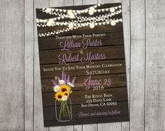 Wedding Invitation Rustic Sunflower Lavender Mason by MintedPress