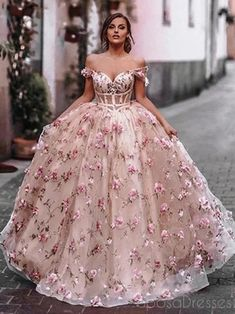 Floral Prom Dresses, Pretty Prom Dresses, Quince Dresses, Cheap Prom Dresses, Flower Dresses, Sweet 16 Dresses, Pink Quinceanera Dresses, Amazing Prom Dresses, Pink Formal Dresses