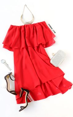 Red Ruffle Off The Shoulder Asymmetrical Dress -   Season: Summer Type: Tunic Pattern Type: Plain Color: Red Dresses Length: Short Style: Beach Material: Polyester Neckline: Off the Shoulder Silhouette: Asymmetrical Decoration: Ruffles