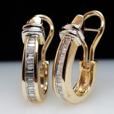 Vintage 14k Yellow Gold Diamond Hoop Huggie Earrings from Jamie Kates Jewelry Collection at RubyLane.com