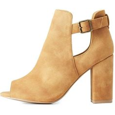 Qupid Peep Toe Cut-Out Booties ($41) ❤ liked on Polyvore featuring shoes, boots, ankle booties, tan, short booties, tan peep toe booties, peep-toe booties, peep toe boots and block heel booties