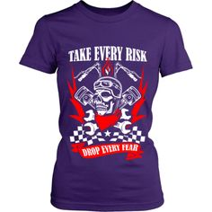 Motorcycle - 'Take Evey Risk' District Women's Fitted Shirt Workout Shirts, Cave, Motorcycle, Tees, Mens Tops, Fashion, Moda, T Shirts, Fashion Styles