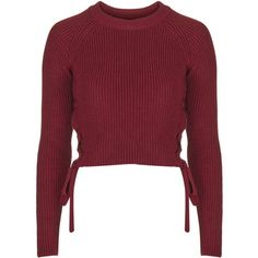 TopShop Eyelet Tie Side Crop ($57) ❤ liked on Polyvore featuring tops, sweaters, crop tops, jumpers, shirts, berry red, topshop jumper, topshop sweaters, side tie shirt and red cropped sweater