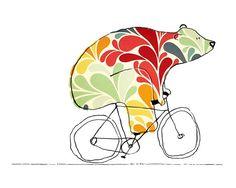 Bear On Bike Art  Bears On Bikes Art Print por weandthebean en Etsy