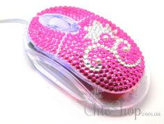 Crystal Flower Pink USB Optical Computer Mouse for any Notebook, Laptop or Desktop PC. Decorated in Rhinestone.