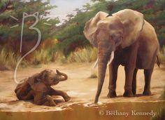 The Waterhole - Elephant by ~FuzzyCreaturePainter on deviantART