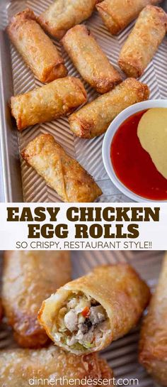 Egg Rolls and the PERFECT crispy appetizers made with chicken cabbage carrots mushrooms and seasoning wrapped in egg roll wrappers and fried ready in 30 minutes! Appetizer Dishes, Chicken Appetizers, Best Appetizers, Appetizer Recipes, Chinese Appetizers, Party Appetizers, Spinach Appetizers, Baby Shower Appetizers, Slow Cooker Appetizers