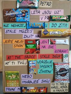 Přání k narozeninám s textem poskládaným ze sladkostí Homemade Gifts For Friends, Gifts For Mum, Little Gifts, Diy Presents, Diy Gifts, Birthday Party Games, Birthday Gifts, Diy And Crafts, Crafts For Kids