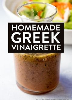 Recipes Snacks Clean Eating Homemade Greek Vinaigrette - this greek dressing is simple, healthy, and falls under clean eating recipes. Your salads and marinades will never be the same. Kitchen Recipes, Cooking Recipes, Healthy Recipes, Amish Recipes, Cooking Games, Fast Recipes, Wing Recipes, Healthy Salads, Cooking Classes