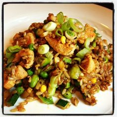 Brown Fried Rice & Veggies  1 medium onion – diced 1 can water chestnuts – diced 1/2 c edamame – shelled and cooked 1 egg 2 c leftover brown rice (preferably cold) 1 tbs sesame oil 2 tbs soy sauce – low sodium 1 tbs rice vinegar 1 c scallions – minced