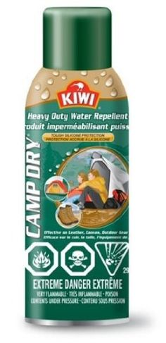 Kiwi Camp Dry, Heavy Duty Water Repellent .... creates a tough waterproof barrier that keeps your stuff dry – even in the harshest conditions.  Thinking of using this for my camper awning.