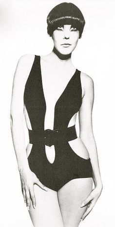 Peggy Moffitt in Rudy Gernreich cut-out bathing suit (trending now) by William Claxton, 1964