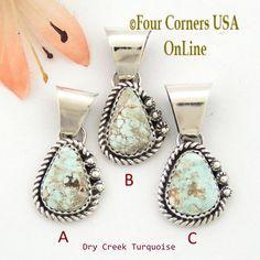 Petite Dry Creek Turquoise Sterling Pendant Navajo Artisan Alice Johnson NAP-1566 Four Corners USA OnLine Native American Jewelry