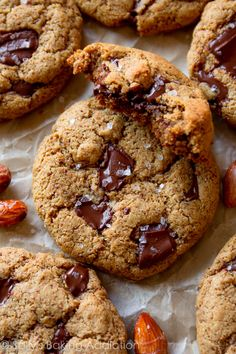 Chewy, soft, flourless, gluten free, and completely irresistible 5 ingredient healthier chocolate chip cookies!!! Easy recipe found on sallysbakingaddiction.com