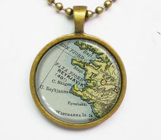 Personalizable Map Necklace - Reykjavik, Iceland -Vintage Map Series