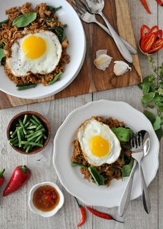 Seriously delicious and easy Thai Holy Basil Fried Rice recipe with a fried egg on top | Khao Pad Gaprow | rachelcooksthai.com