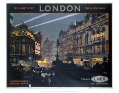 This NRM Officially Licensed vintage rail print is a faithful reproduction of the original posters that appeared in all the British Railway Stations up and down the land. This stunning picture was produced by London & North Eastern Railway (LNER) to promote train services to London and depicts Piccadilly Circus.