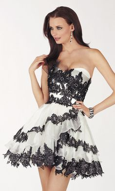 Short Strapless Ruffled Lace Babydoll Dress