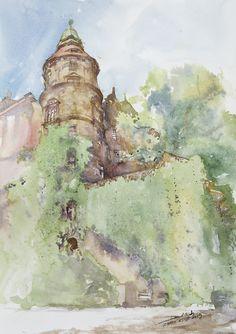 Ksiaz Castle, 51x36cm, 2009 www.minhdam.com #architecture #watercolor #watercolour #art #artist #painting #poland