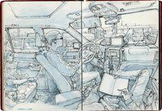 Kim Jong Gi interior car scene sketchbook