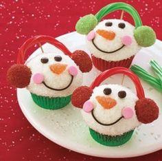 snowman cupcake, leuke traktatie.