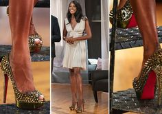 """We know Naomi loves her some Azzedine Alaia, and Alaia loves her right back—especially in this beautiful Grecian cut-out mini-dress. This steamy look is finally hitting your screens in tonight's brand new episode of """"The Face"""" (9/8c!). She pairs dress with a pair of studded Christian Louboutin Lady Peep Spike platforms and just crushes it with two simple pieces. No wonder guest star Amar'e Stoudemire can barely keep his hand on his ball. Want to shop those exact shoes? ..."""