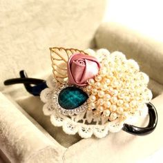 My Colour 100% Handmade Elegant Champagne Pearl Lace Diamond Bow Hair Accessories Hair Clip -- Check this awesome product by going to the link at the image.