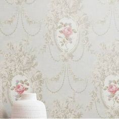 Shabby Chic Wallpaper, Antique Wallpaper, Room Wallpaper, Wallpaper Roll, Rose Stencil, Vintage Floral Wallpapers, Romantic Paintings, Vintage Room, Rose Design