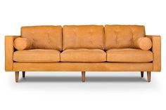 Tan Leather Sofa   Danell in Charm Russett   Style/Type - Mid-century modern sofa / tufted sofa / leather sofa
