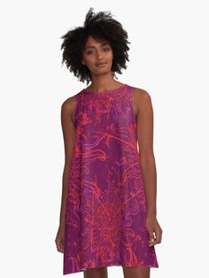'Pink Acid Sun Psychedelic Trippy Pattern' A-Line Dress by EddieBalevo Trippy Patterns, Wave Pattern, Unique Dresses, Holiday Outfits, I Dress, Designer Dresses, Summer Dresses, Clothes, Floor Pillows