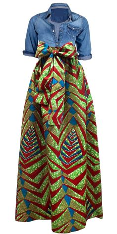 African Print Maxi skirt with pockets and sash paired with jean top. African fashion. Nigerian fashion