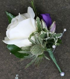 Avalanche rose and thistle buttonhole. Please contact the Stockbridge Flower Company, Edinburgh for more details. Bridal Flowers, Pink Flowers, Wedding Table Centres, Flower Company, Flower Centerpieces, Buttonholes, White Roses, Summer Wedding, Beautiful Flowers