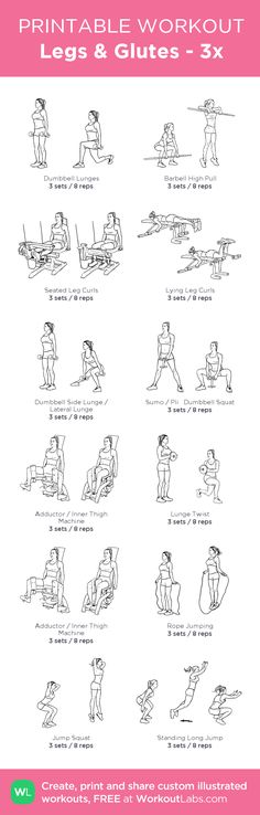 Legs & Glutes - 3x: my visual workout created at WorkoutLabs.com • Click through to customize and download as a FREE PDF! #customworkout
