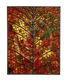 AutumnReverence by Erica Rollings. A marvel. Squint and look at the colours, magnificent ! Tree Designs, Stained Glass Art, Colored Glass, Amazing Art, Colours, Painting, Autumn, Inspiration, Trees